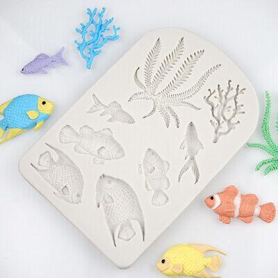 Fish Cake Decorations (Fish Coral Silicone Fondant Mold Beach Sea Cake Border Decorating Icing)