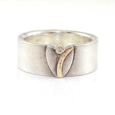 Sterling Silver Solid 14K Yellow Gold Natural Diamond Band Ring Size 6.5