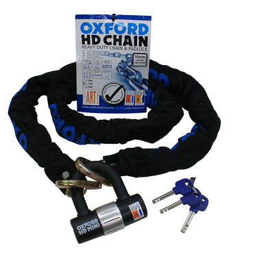 OXFORD HD MOTORBIKE MOTORCYCLE HEAVY DUTY CHAIN AND DISC LOCK 1.5M 9.5MM SHACKLE