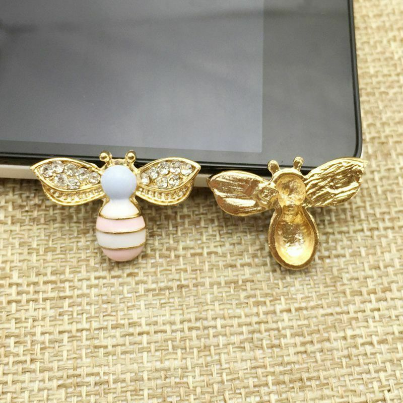 10x Alloy DIY Crystal Rhinestone Bee Flatback Embellishment Craft Button Jewelry