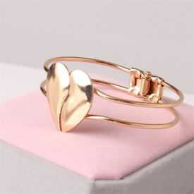 New Heart Shaped Bracelet Shiny Double Heart Alloy Punk Cuff Bracelet
