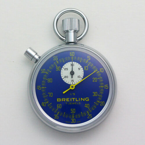 NOS Breitling Chronograph Blue Dial 7 Jewel Movement Pocket Timer Stopwatch