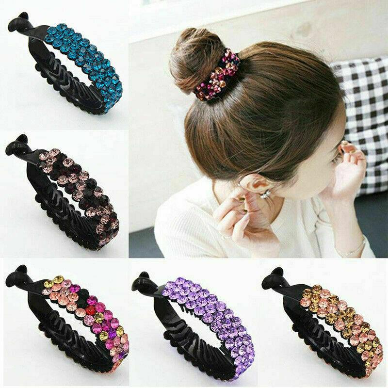 Womens Crystal Rhinestone Hair Clips Claw Clamp Bun Ponytail Holder Headwear