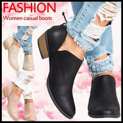 Women's Low Mid Block Heel Ankle Boots Ladies Chunky Casual Booties Shoes Size Heel Women Ankle Boot