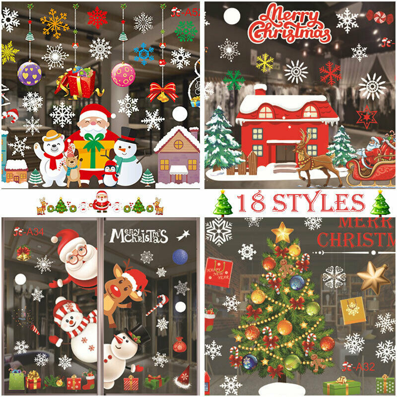 Home Decoration - 🎄Christmas Santa Removable Window Stickers Art Decal Wall Home Party Xmas Decor