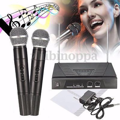 (Fashion Professional Dual Handheld VHF Wireless Radio + 2 Microphone Mic System)