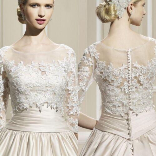Vintage Lace Applique Bolero Wedding Dress Jacket 3/4 Long Sleeves Shrug Custom