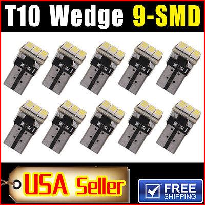 10 X Car White T10 Led 9Smd Side Wedge Light Bulb W5w 194 168 2825 501 192 158