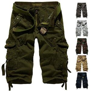 Hombre-Informal-Estilo-Militar-Combate-Camuflaje-Pantalones-cortos-Trabajo-NUEVO