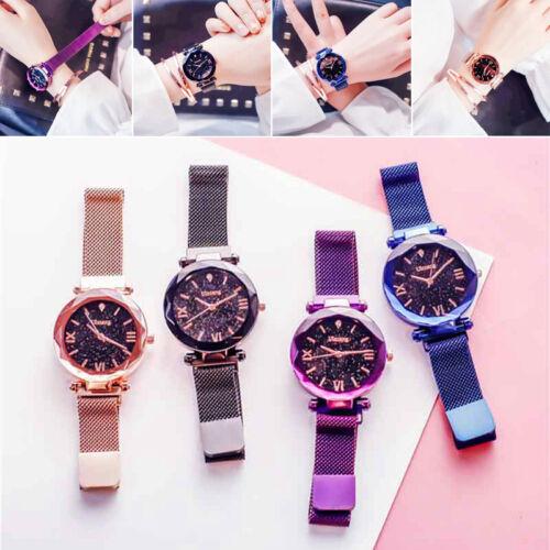 Damen Armbanduhr Quarz Luxusuhr mit Magnet Mesh-band Sternenhimmel Zifferblatt