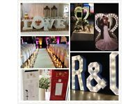 Love Table, 8FT Heart Arch, 4FT light up letters, aisle runner, Flower Wall