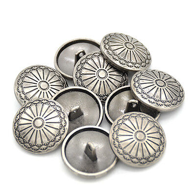 (10Pcs DIY Sewing Fastener  Flower Pattern Shank Buttons Metal Craft 23mm Fine)