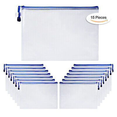 15pcs A4 Office Document File Netting Holder Zipper Bags Envelope Pouch Bag