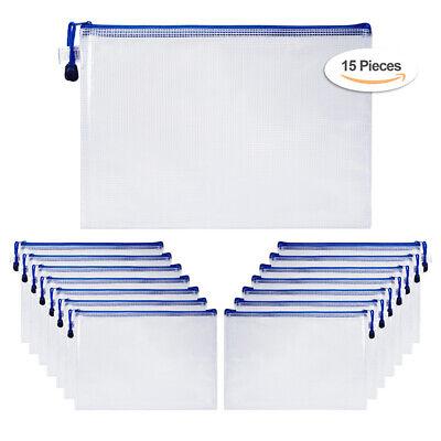 15pcs A4 Office Document File Netting Holder Zipper Bags Envelope Pouch Bag