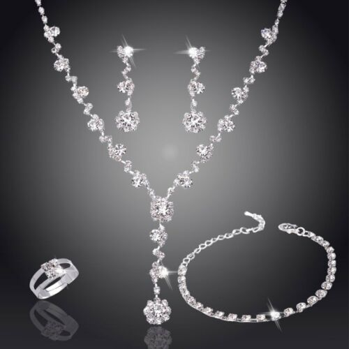 Rhinestone Crystal Necklace Earrings Bracelet Ring Wedding B