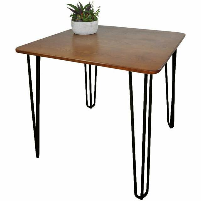 Hairpin leg cafe dining tables solid chestnut wood top for Gumtree beauty table
