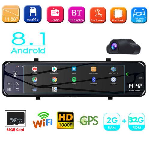 """12"""" Car GPS Rearview Mirror Dash Cam 1080P HD WIFI Android8.1 ADAS DVR 64GB Card"""