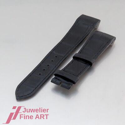 JAEGER-LeCOULTRE Reverso Squadra Classic Leder-Kroko-Armband-mattschwarz-19/16mm