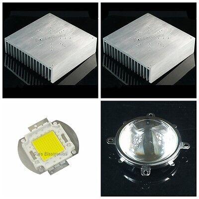 Sure 170x170x44mm Aluminum Heatsink Radiator With 100w White Ledlens Reflector