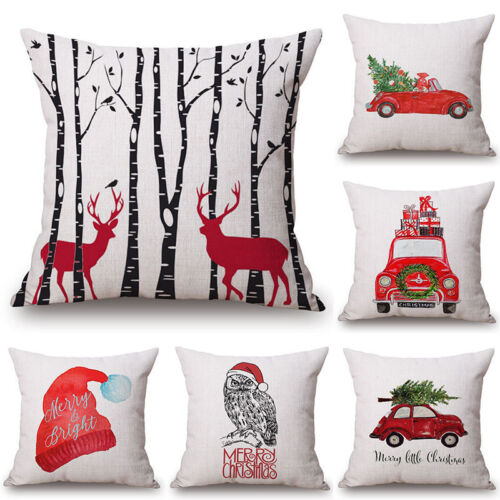 Christmas Cotton Linen Pillow Case Cushion Cover Sofa Home Bed Car Decor 18x18