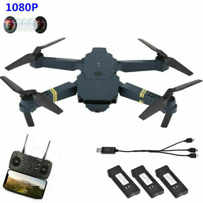 Drone X Pro Foldable Quadcopter WIFI FPV 1080P HD Camera 3 Extra Batteries Black