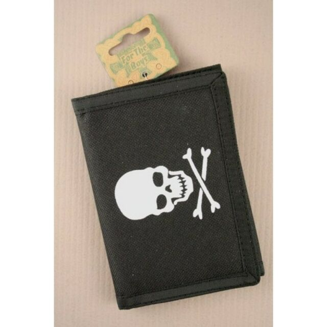 NEW Pirate skull and cross bone material mens wallet 12x9cm boys accessories