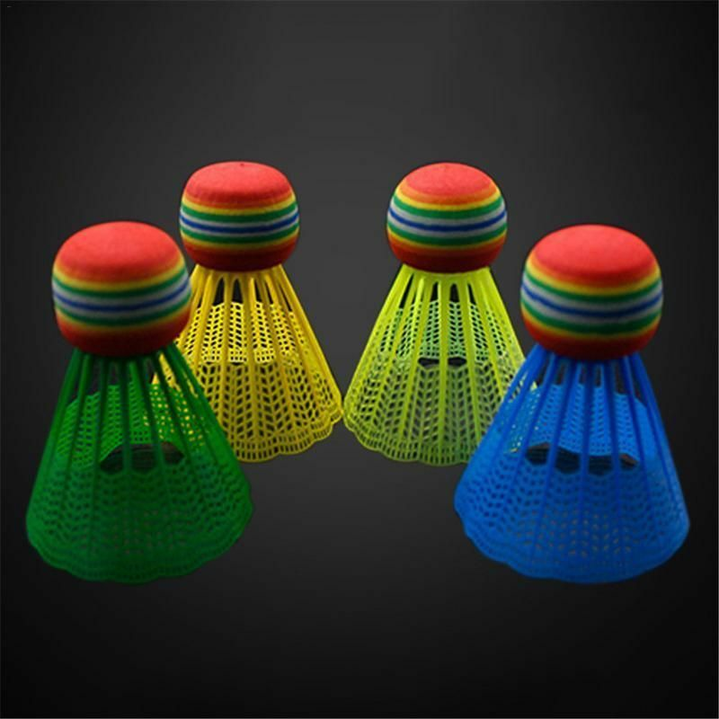 Badminton Shuttlecock Rainbow Head Nylon Ball Plastic Feather Training R1H1