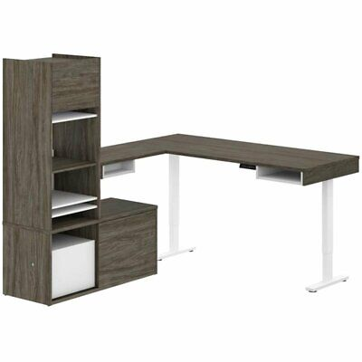Bestar Pro-vega L Shaped Adjustable Standing Desk With Tower Credenza In Gray