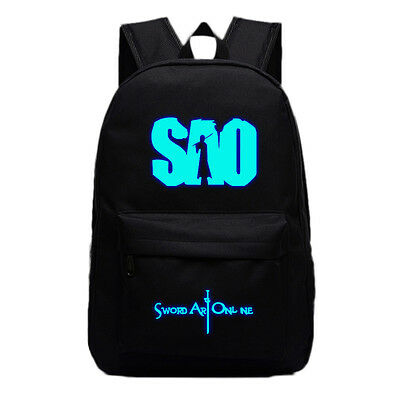 Anime Sword Art Online Sao Backpack School Bag Sport Laptop Bags Luminous Black