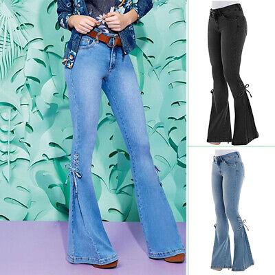 Women High Waist Jeans Flare Wide Leg Trousers Lace Up Bell Bottom Denim Pants