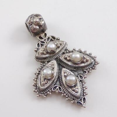 Vintage Azza Fahmy Sterling Silver White Pearl Scroll Modernist Pendant LFD3