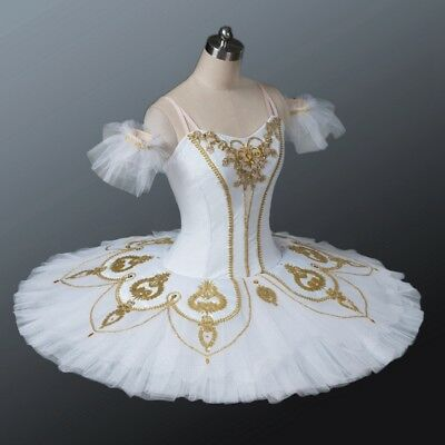 Professional Classical Ballet Tutu White & Gold Costume Nutcracker Custom MTO