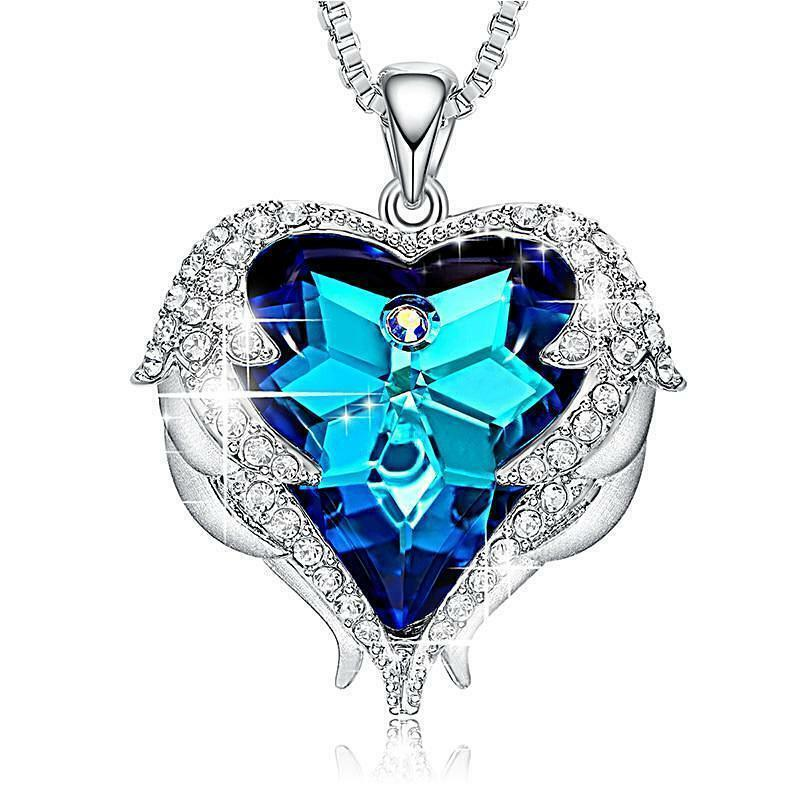 silver angel wings heart crystal pendant necklace