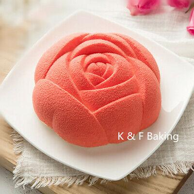 Rose Silikonform Blumen Kuchenform Schokoladenform Puddingform Mousse Backform (Schokoladenform Rose)