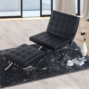 Black Sofa Chair With Footrest 833-057