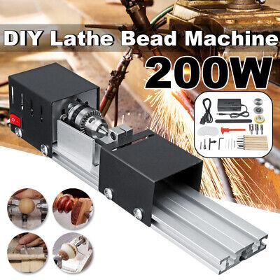 Mini Lathe Beads Machine Wood Working Diy Lathe Polishing Drill 200w Automatic