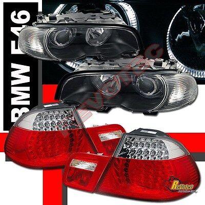 00-02 BMW E46 328ci 2DR Coupe Halo Projector Headlights Corner & LED Tail Lights ()
