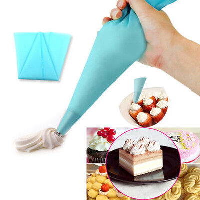 (Cool DIY Silicone Reusable Icing Piping Cream Pastry Bag Cake Decorating Tools)