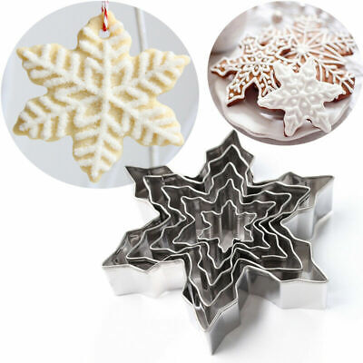 5Pcs XMAS Snowflake Stainless Steel Cookie Mold Cutter Biscuit Cake Decor Baking