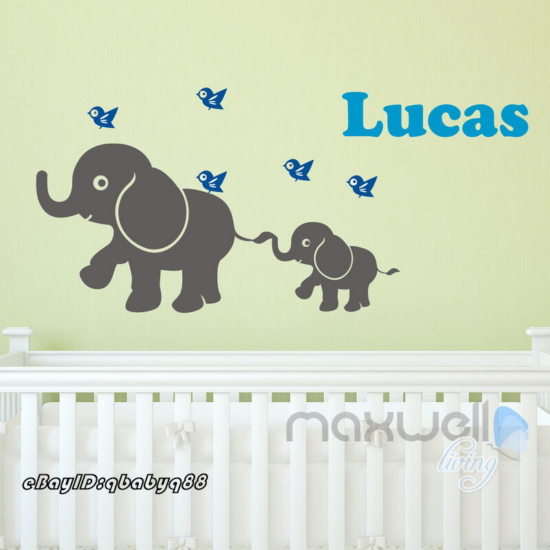 baby elephant birds personalised name wall decals removalbe kids