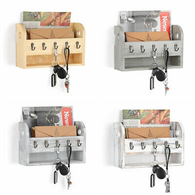 Mail Holder With 5 Key Hooks Wall-Mounted Wooden Rack Envelope Organizer Home Wall Key Organizer