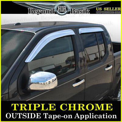 2008 Nissan Frontier Door (For 2005-2019 Nissan Frontier Crew Cab Chrome Door Vent Visors 4Pc Rain)