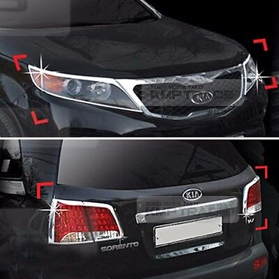 Chrome Head Light Garnish Rear Lamp Molding Cover 6P For KIA 2010-2012 Sorento R