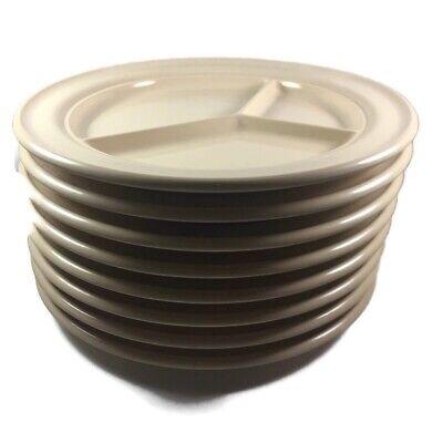 "Vintage MCM Boonton Ware Tan Divided Plates Melmac Set 8 RV Camping 9.5"" Plate"