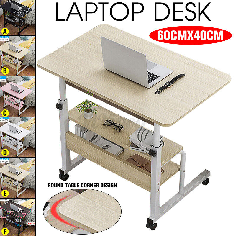 Adjustable Height Home Office Computer Table PC Laptop Desk Workstation W/ Wheel 8