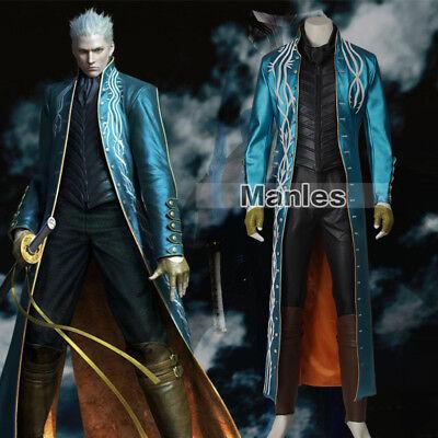 Devil May Cry DMC 3 Vergil Cosplay Costume Jacket Coat Cosplay Dante Suit Cool - Cool Superhero Suits