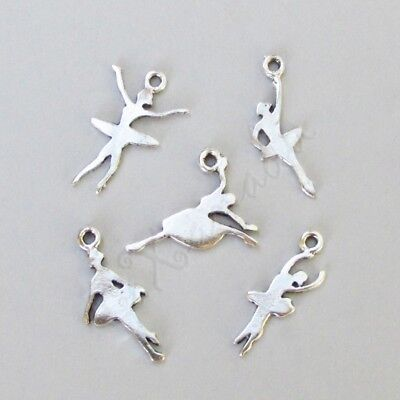 Ballerina Mix - Dancing Ballerina Antiqued Silver Plated Charms Mix CM7369 - 10, 20 Or 50PCs