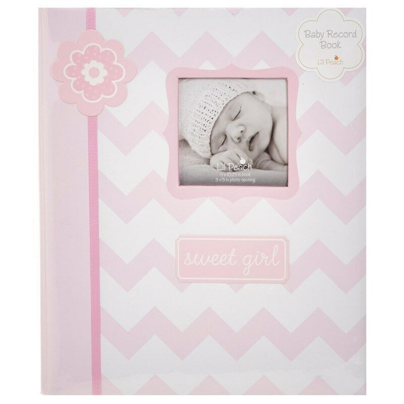 MY BABY FIRST MEMORIES BOOK - LIL PEACH GIRL ZIGZAG PINK - KEEPSAKE RECORD ALBUM