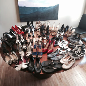 38 pairs of women's shoes size 7.5 to 8