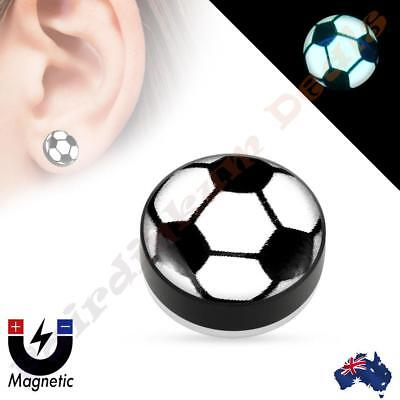 Soccer Ball Dome Top Acrylic Glow in the Dark Non Piercing Magnetic Ear Plug - Soccer Ball Glow In The Dark